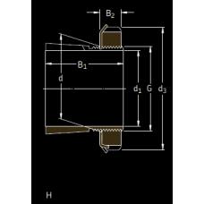 Основные размеры подшипника H 3128