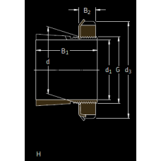 Основные размеры подшипника H 2332