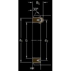 Основные размеры подшипника HME 30/750