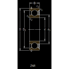 Основные размеры подшипника 6303-ZNR
