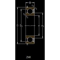 Основные размеры подшипника 6305-ZNR